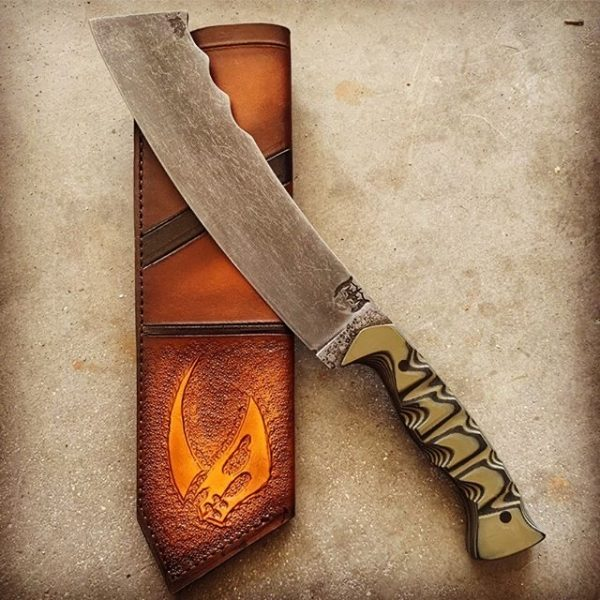 War Cleaver with custom embossed leather sheath
